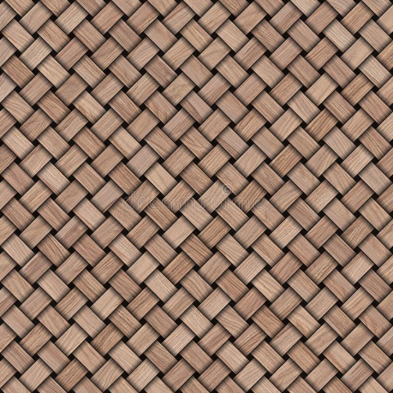 De houten achtergrond van de weefseltextuur Abstracte decoratieve houten geweven mandewerkachtergrond Naadloos patroon royalty-vrije illustratie