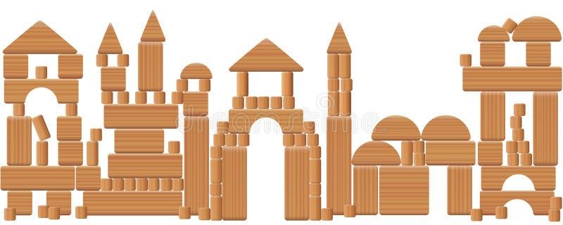 De Houten Blokken van de spelstad vector illustratie