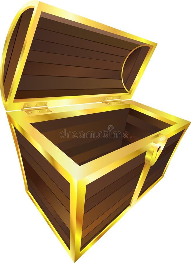 de houten borst van de schatpiraat stock illustratie