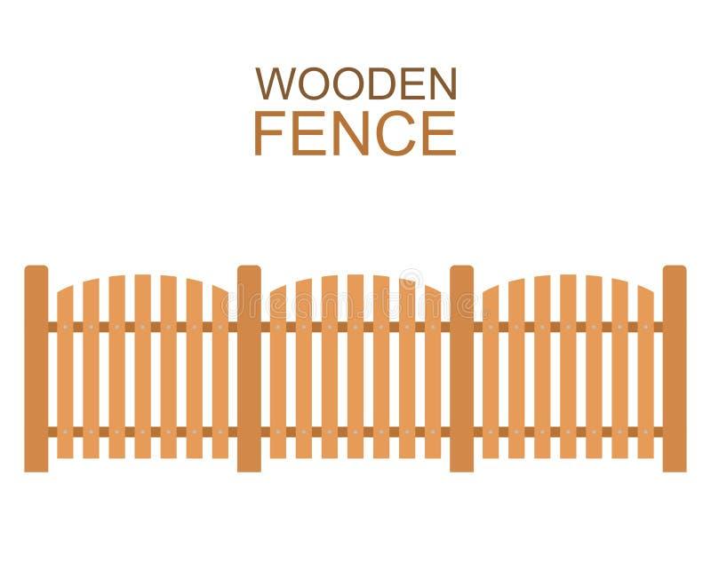 De houten bouw van het de omheinings houten silhouet van de landbouwbedrijfraad in vlakke stijl royalty-vrije illustratie