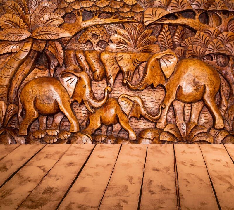 De houten decoratie en de vloer stock afbeeldingen
