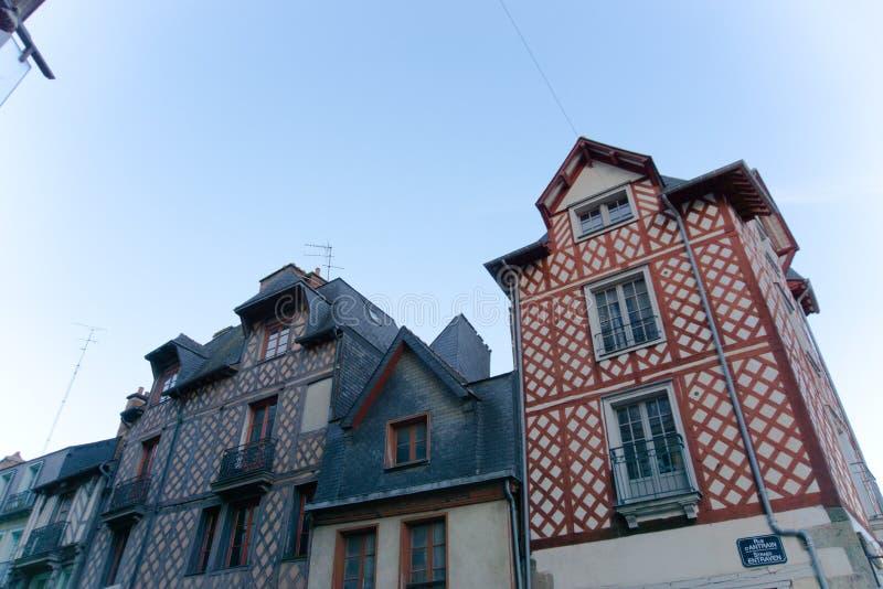 De houten gebouwen van de binnenstad Frankrijk van Rennes royalty-vrije stock foto's