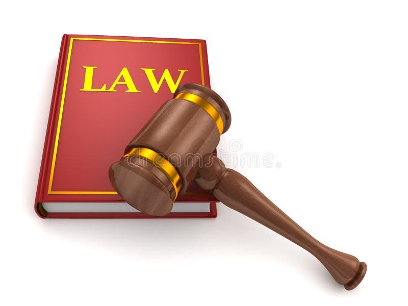 De houten hamer van rechters en wetsboek op wit royalty-vrije illustratie
