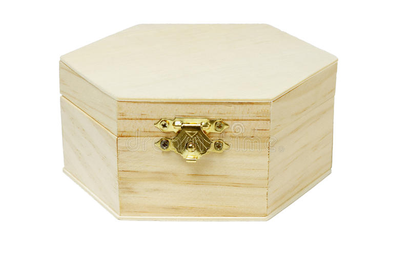 De houten hexagonale doos van de vormopslag stock foto's