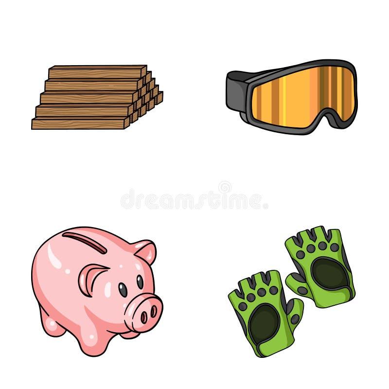 De houten industrie, financiën en ander Webpictogram in beeldverhaalstijl sporten, fitness pictogrammen in vastgestelde inzamelin stock illustratie
