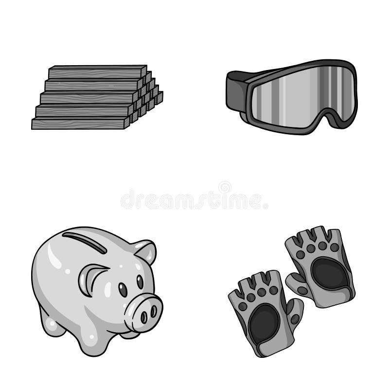 De houten industrie, financiën en ander zwart-wit pictogram in beeldverhaalstijl sporten, fitness pictogrammen in vastgestelde in vector illustratie