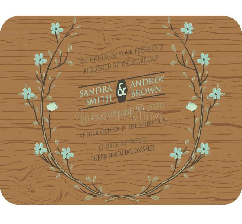 De houten kaart van de huwelijksuitnodiging stock illustratie