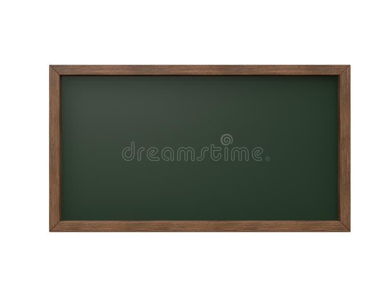 De houten kader zwarte raad, groene 3d raad geeft terug stock illustratie