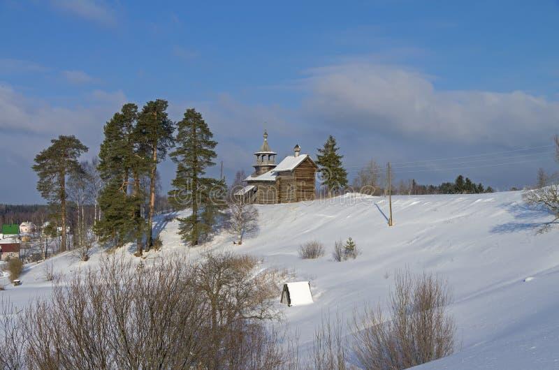 De houten kerk in Karelië, Rusland royalty-vrije stock foto's