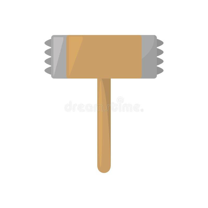 de houten keuken van de staalhamer en kokende werktuigen stock illustratie
