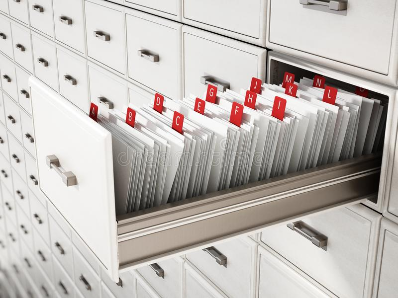 De houten lade van de bibliotheekcatalogus met brieven 3D Illustratie stock illustratie