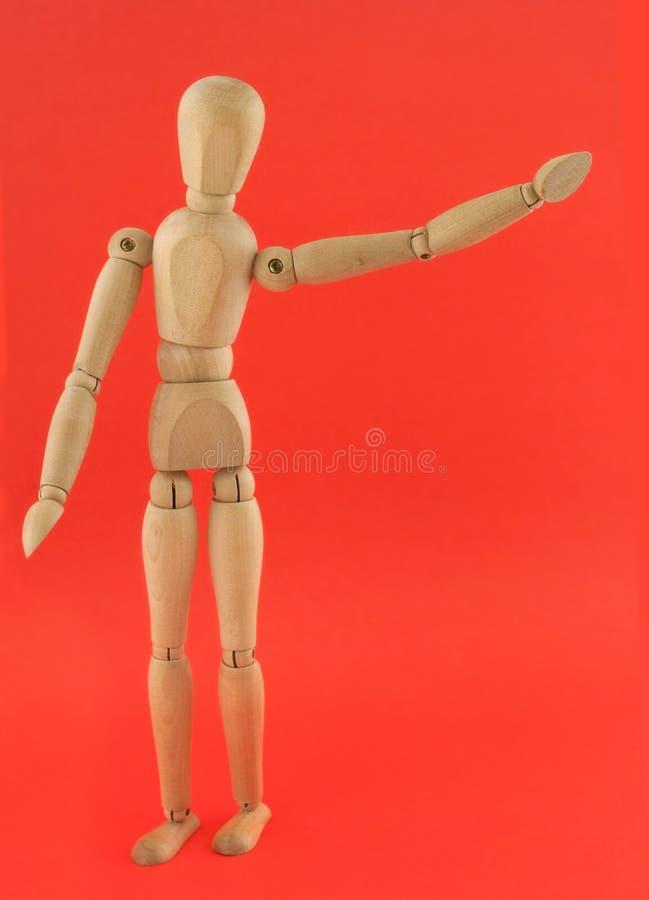 De houten Ledenpop in Hello stelt royalty-vrije stock afbeeldingen