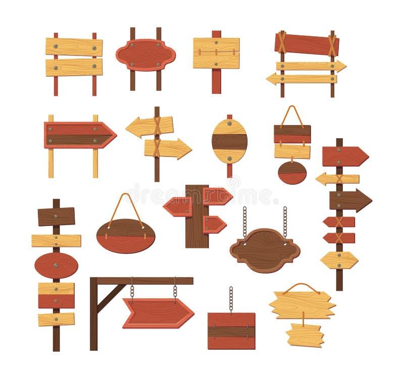 De houten lege lege planken of de uithangborden van de tekenraad vector illustratie