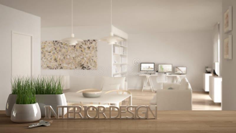 De houten lijst, het bureau of de plank met ingemaakt gras planten, huisvesten sleutels en 3D brieven makend tot de woorden binne vector illustratie