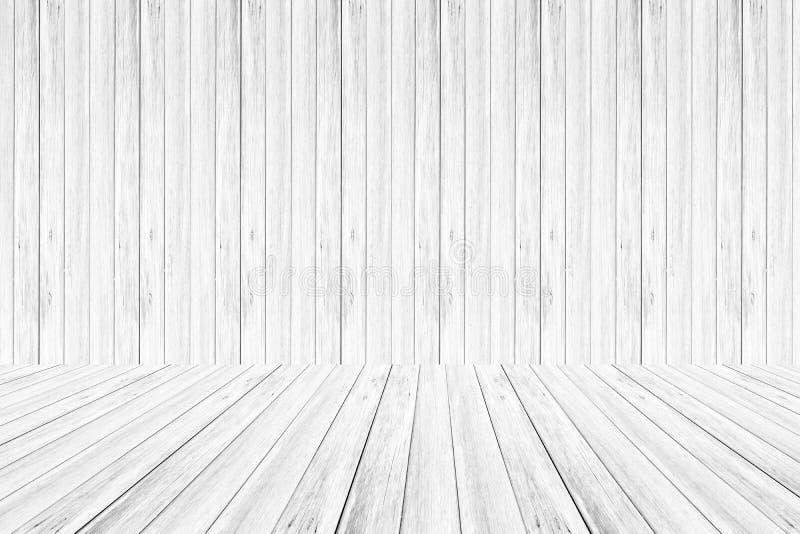 De houten muur en terras Witte kleur van de textuur Zachte toon stock illustratie