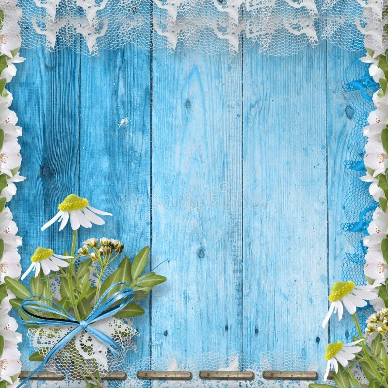 De houten muur van Grunge met bos van bloem stock illustratie
