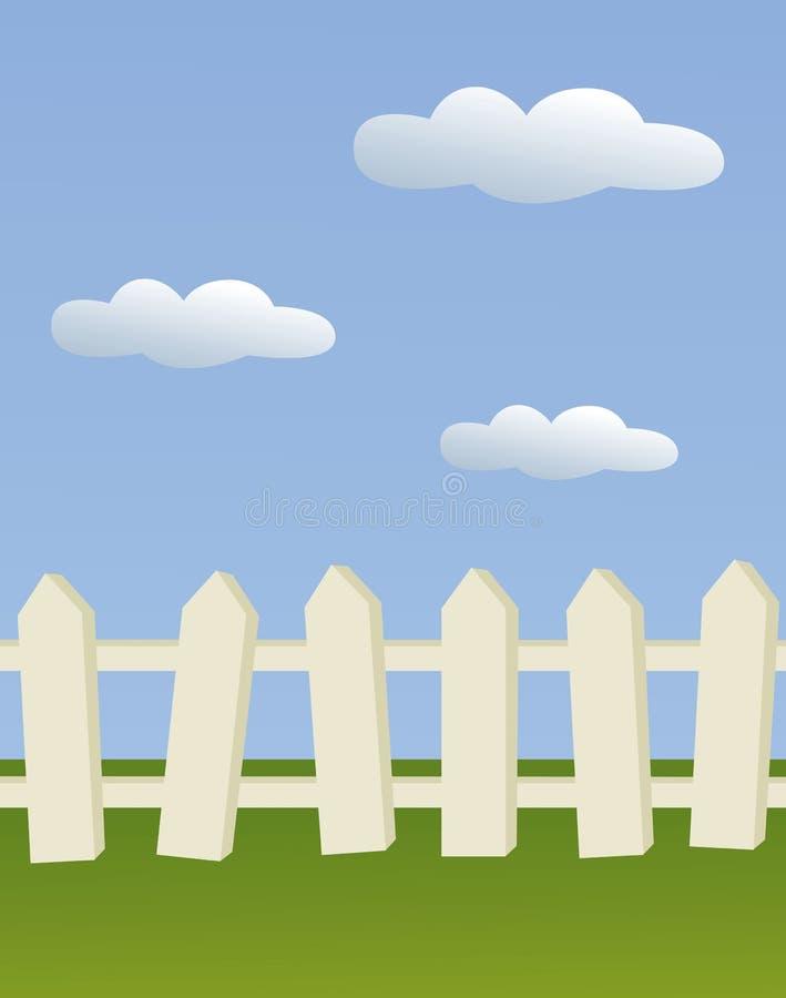 De houten omheining van de binnenplaats met hemel en wolken vector illustratie