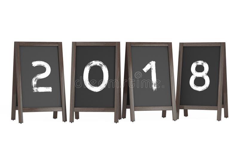 De houten Openluchtvertoningen van het Menubord met het Jaarteken van 2018 3d vector illustratie