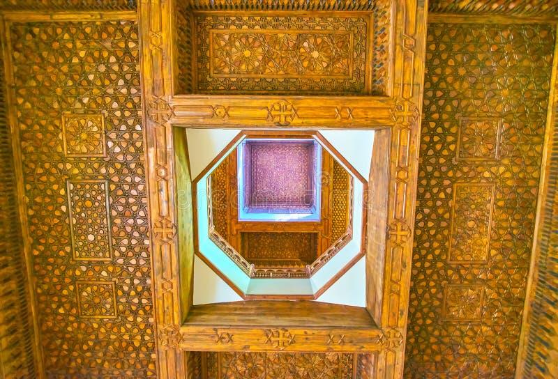 De houten plafonds in Koptisch Museum, Kaïro, Egypte royalty-vrije stock fotografie