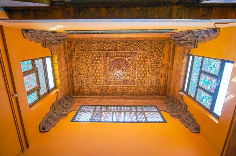 De houten plafonds in Koptisch Museum, Kaïro, Egypte royalty-vrije stock foto