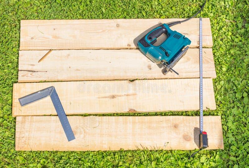 De houten planken en het lijstwerk naaien royalty-vrije stock foto