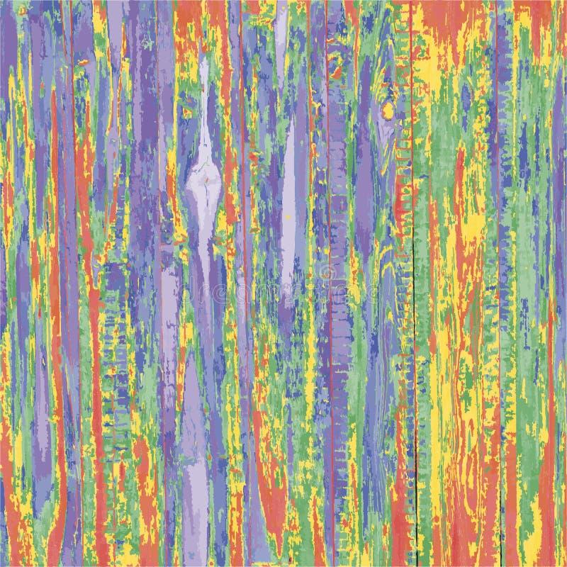 De houten planken houten structuur schilderde kleurrijke kleuren, vector vreemde multi gekleurde achtergrond, abstract het schild vector illustratie