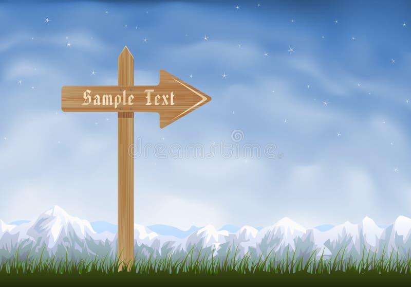 De houten post van het pijlteken vector illustratie