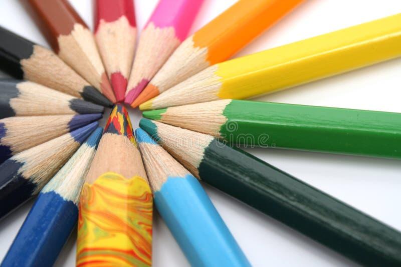 De houten potloden van de kleur rond van de veelkleurige broer stock afbeeldingen