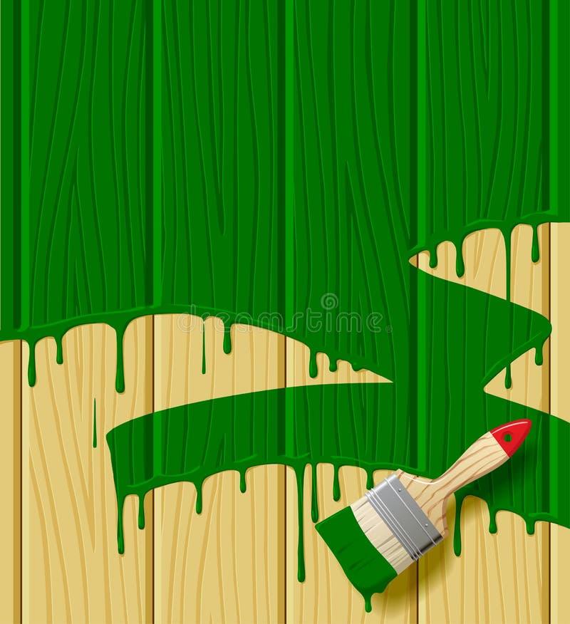 De houten raad schilderde in groene kleur met een verfborstel royalty-vrije illustratie