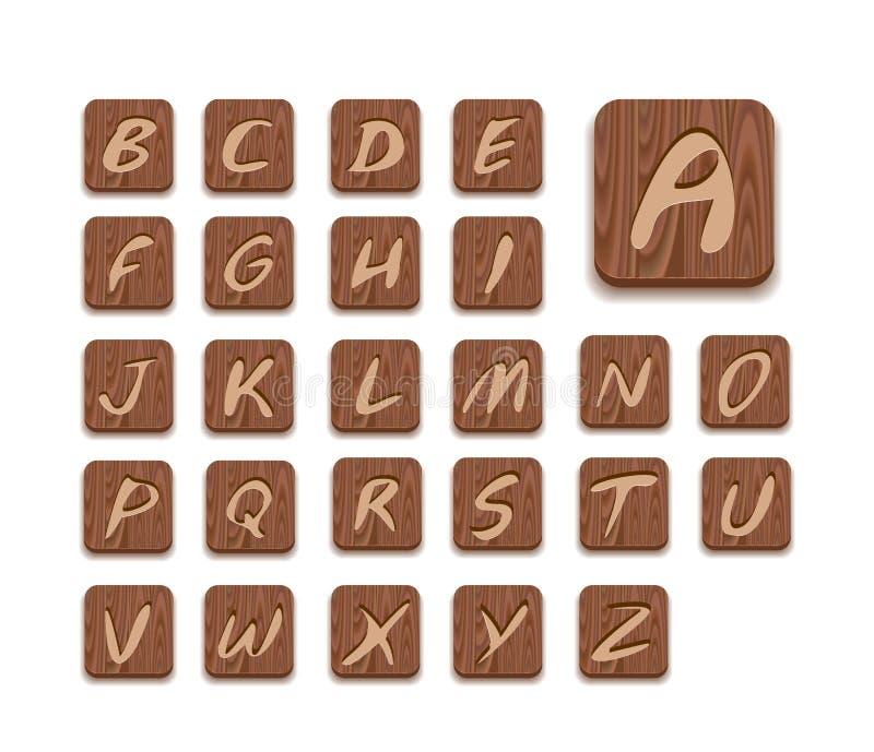 De houten Reeks van het Pictogram van het Alfabet royalty-vrije illustratie