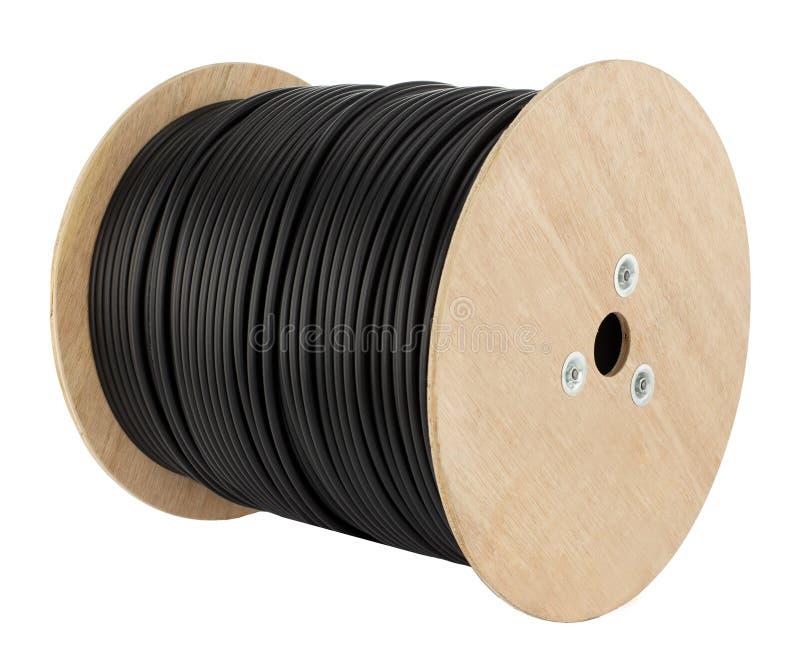De houten rol van elektrische kabel isoleerde witte achtergrond royalty-vrije stock foto