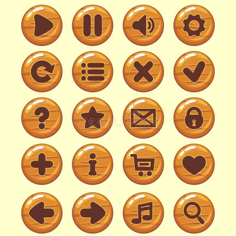 De houten ronde geplaatste knopen van GUI De pictogrammen van het spelmenu royalty-vrije illustratie