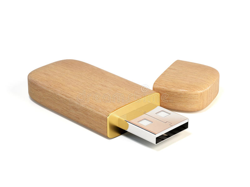 De houten stok van het usbgeheugen stock illustratie