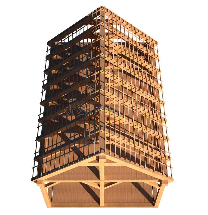 De houten structuur van het dak stock illustratie