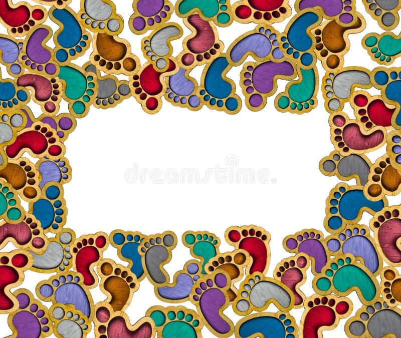 De houten stuk speelgoed voetafdrukken isoleren witte achtergrond - achtergrond met exemplaarruimte royalty-vrije stock foto's