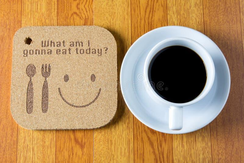 de houten textuur schrijft wat I die ben gaan vandaag eten stock fotografie