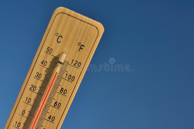 De houten thermometer van Mercury stock foto