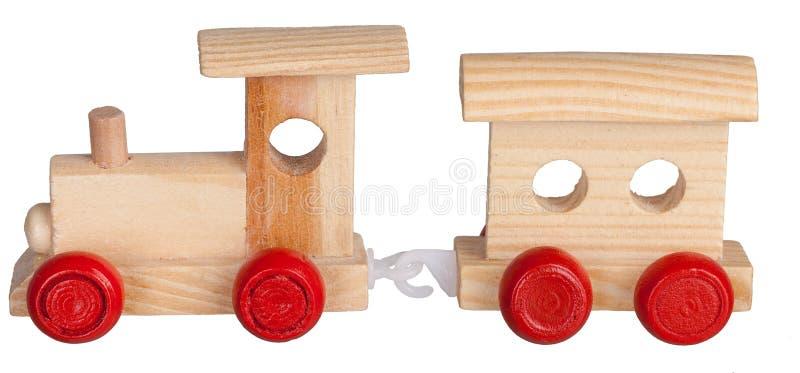 De houten trein van het stuk speelgoed met bus royalty-vrije stock afbeeldingen