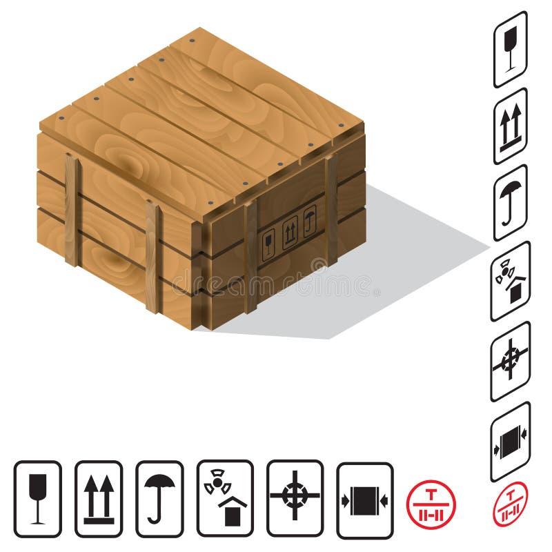 De houten Vector van de ladingsdoos stock illustratie