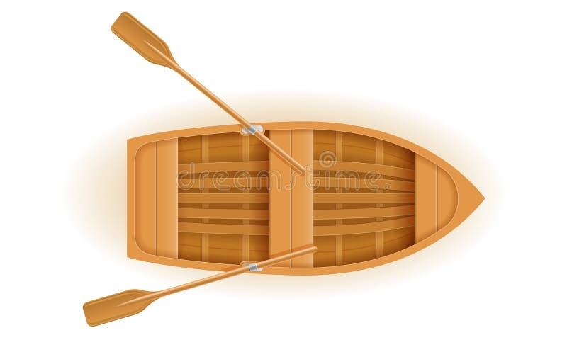 De houten vectorillustratie van de boot hoogste mening royalty-vrije illustratie