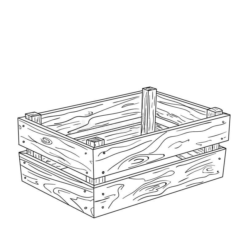 De houten vectorillustratie van de doosschets voor ontwerp en decor royalty-vrije illustratie