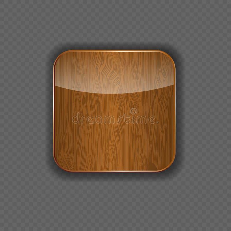 De houten vectorillustratie van het toepassingspictogram vector illustratie