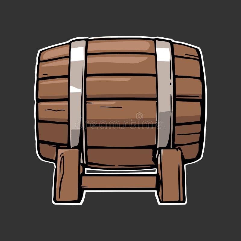 De houten vectorillustratie van de vat vastgestelde gravure stock illustratie