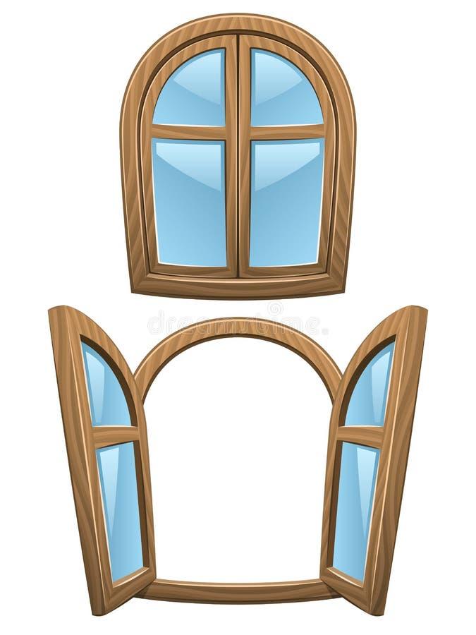 De houten vensters van het beeldverhaal vector illustratie