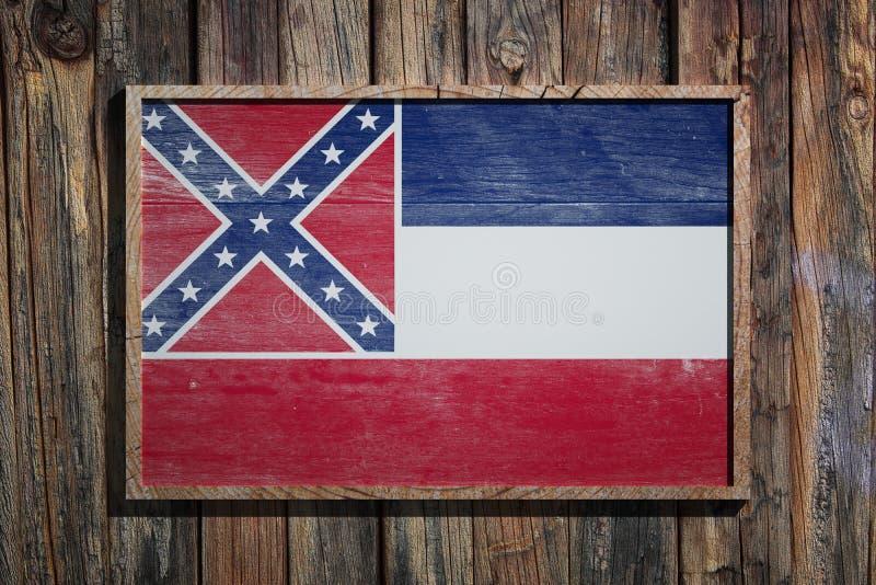 De houten vlag van de Mississippi royalty-vrije illustratie