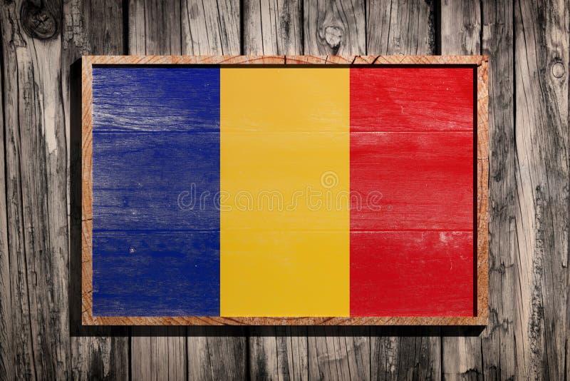 De houten vlag van Roemenië stock foto
