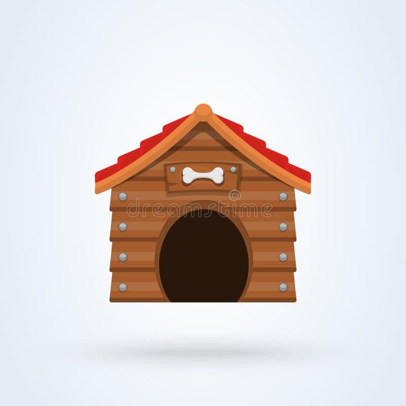 De houten vlakke stijl van het hondhuis Pictogram dat op witte achtergrond wordt ge?soleerdt Vector illustratie vector illustratie