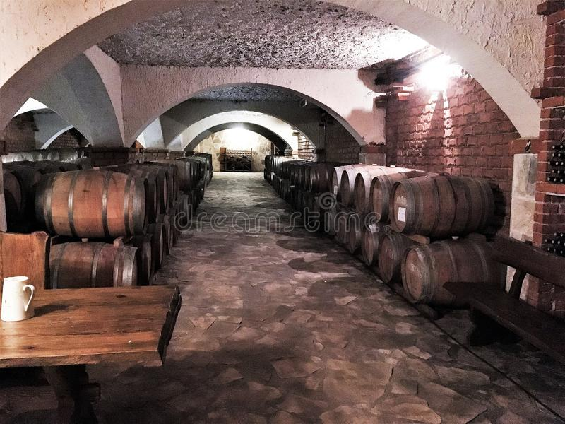 De Houten wijnvatten van de wijnkelder stock foto