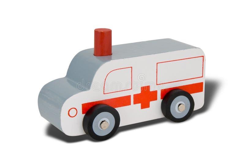 De houten ziekenwagen van het stuk speelgoed stock foto