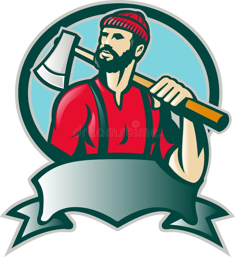 De Houtvester van de houthakker met Bijl stock illustratie